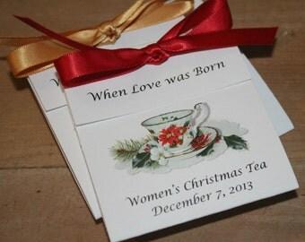 Poinsettia Design Teacup Tea Favors for Christmas event, Church Event, Christmas Tea