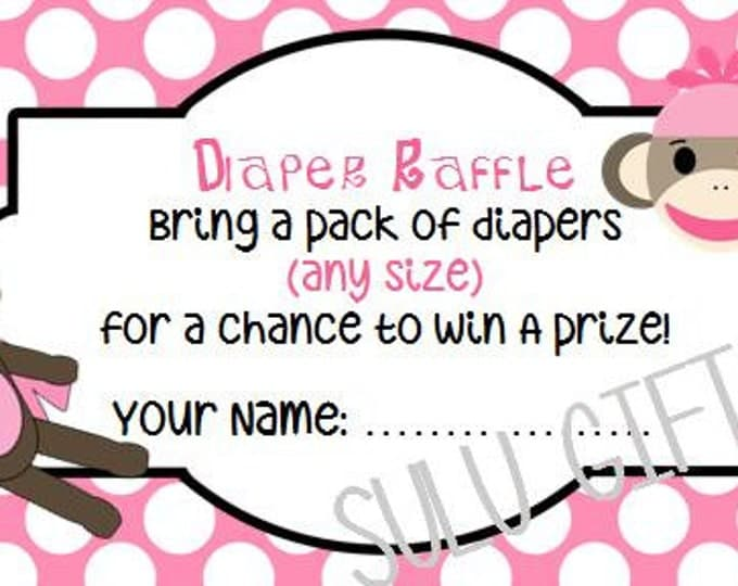 SALE Sock Monkey Pink Baby Shower Diaper Raffle ~ Instant Download Printable PDF File ~Pink Polka Dot Design Girl