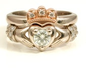 Stacking Claddagh Engagment Wedding ring set - Moissanite and Diamonds - 14k Palladium white gold and Rose Gold Crown