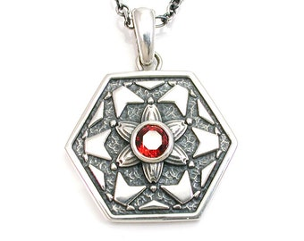 Fractal Art Garnet Pendant - Octagon Sterling Silver Necklace