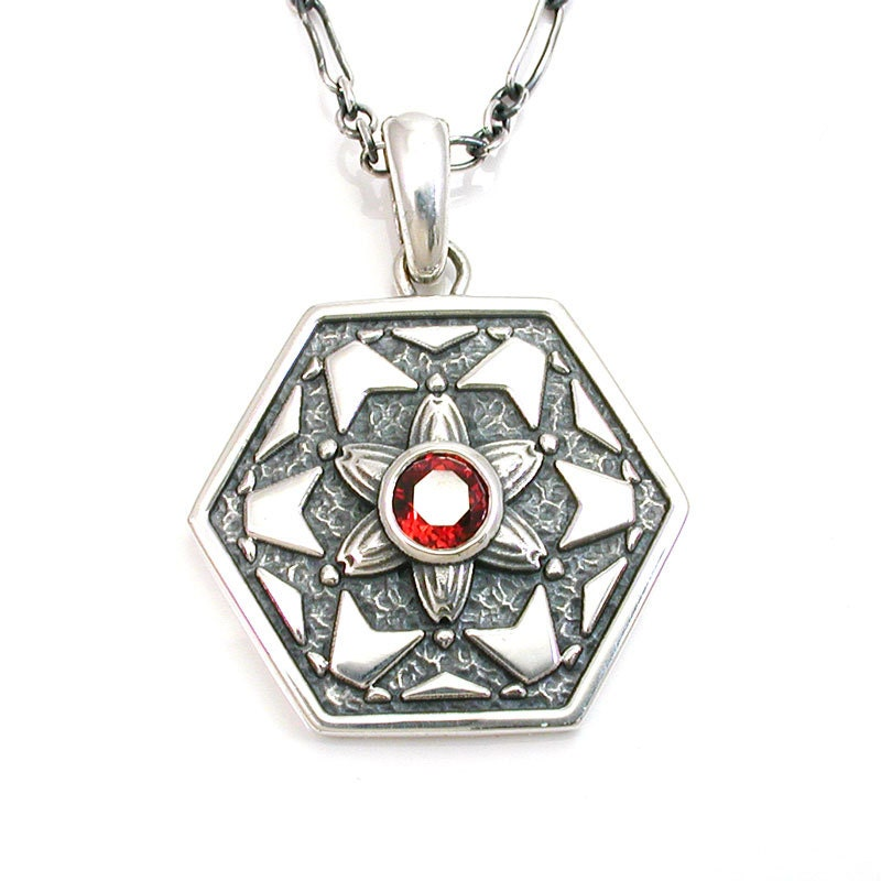 Fractal Pendant Lights: Fractal Art Garnet Pendant Octagon Sterling Silver Necklace