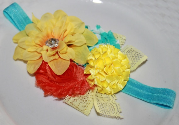 Girls cluster yellow orange baby blue shabby chic chiffon silk flower