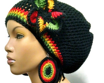 PATTERN ONLY Crochet Circle Earring Pattern Rasta Colors/ hat pattern sold separately/ Flower is included with hat pattern purchase only