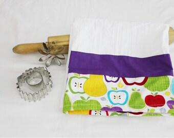 Retro Apples Flour Sack Kitchen Towel with purple stripe