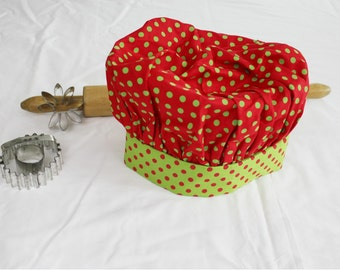 Christmas Dots Child Chef Hat - Adjustable, red with green dots