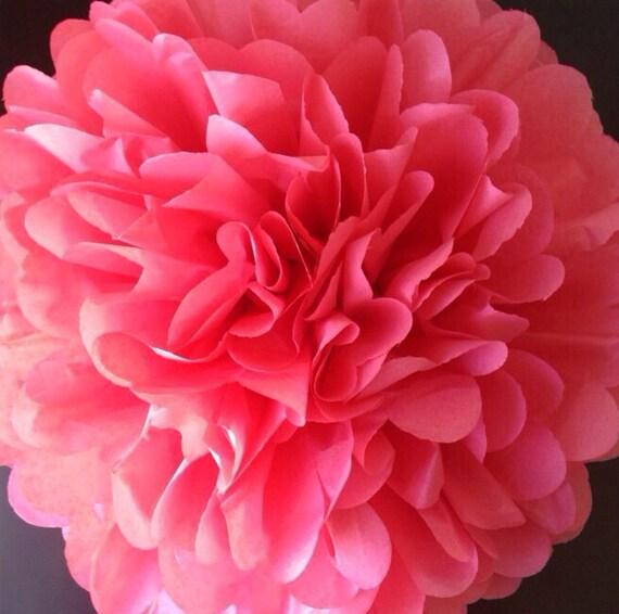 1 Island Pink Tissue Paper Pom Pom, Watermelon, wedding poms, nursery decor, bridal shower pom pom