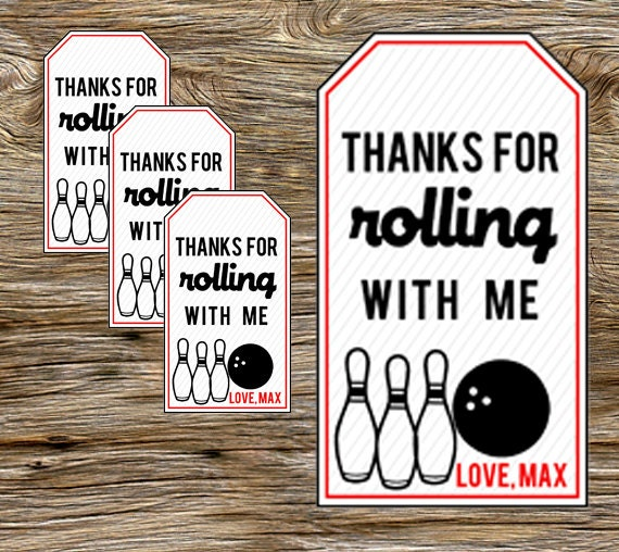 DIY Persoanlized Printable Bowling Party Favor Tags
