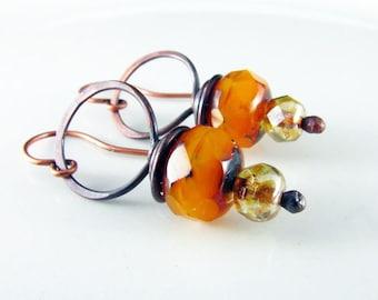 Copper Earrings Wire Wrapped Orange and Copper Czech Picasso Earrings Wire Wrapped Jewelry Copper Jewelry Hoop Earrings