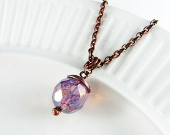 Wire Wrapped Pendant Amethyst Necklace Copper Jewelry Wire Wrapped Jewelry Copper Necklace Wire Wrapped Necklace Czech Glass