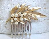 Wedding Hair Comb Pearl Vintage Trifari Brooch Jewelry Leaves Clips Bridal Hairpiece