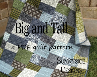 Big Block Quilt Pattern, Big and Tall, Fat Quarter Friendly Throw Baby Lap Quilt Size Fast Easy Simple Modern Fabrics Sunnyside Designs