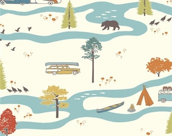 Feather River Camp Sur JayCyn Birch Organic Fabrics Camping Trees Wildlife Outdoors All Natural Nature Scene Big Sur