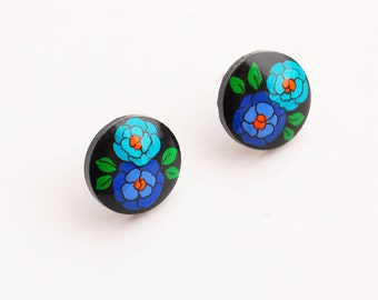 Post earrings - Hand painted FLORAL