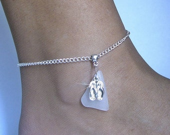 Sea glass anklet. Beach glass flip flops anklet. Beach sea glass jewelry.