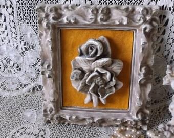Vintage, Roses Chalkware plaque, Romantic Cottage, PAIR, antiqued white, yellow gold