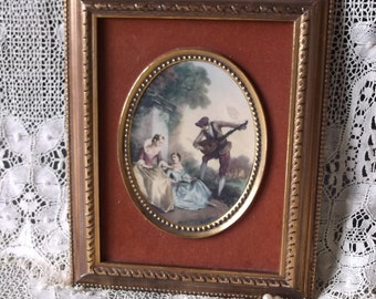 Vintage Cameo picture, Florentine style, antiqued gold frame, rust