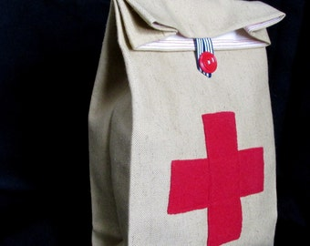Red Cross Cloth lunch bag with Handle // Re-useable lunch sack // washable lunch bag
