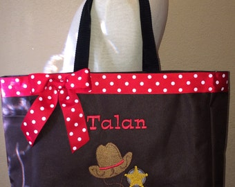 Personalized Baby Kids Sheriff Cowboy Western Tote Toy Diaper Bag