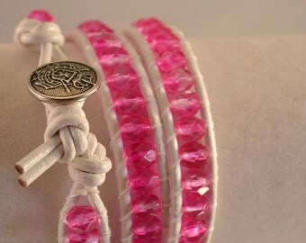 Handmade White Leather and Bright Hot Pink Wrap Boho Bracelet Three Wrap Czech Glass Beads Womens Birthday Gift Valentines Day Gifts for Her