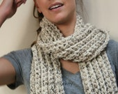 Scarves for Women Crochet Chunky Scarf OATMEAL Neck Warmer Chunky Scarf Cowl Fall Accessories