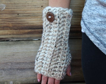Arm Warmers Fingerless Crochet Gloves Oatmeal Long Chunky Mittens Women's Accessories Gifts for Her