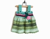 Knitted Girl Dress - Green, 9 - 12 months