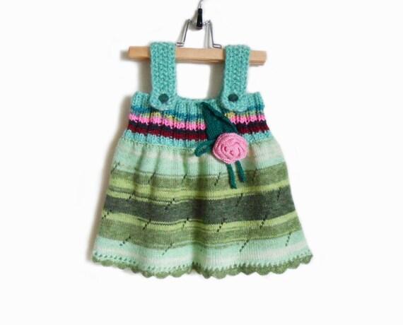 Knitted Girl Dress - Green, 9 - 12 months