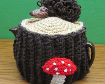 Crochet Tea Cosy ~ Woodland Tree Stump With Crochet Hedgehog and Toadstools