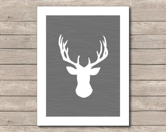Grey Reindeer Christmas Printable, Wood Art Print, Grey Reindeer, Wood Reindeer Art