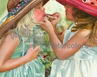 "Girl Friends, Sisters Play Dress Up, Make Up, Lipstick, White Dress, Big Hats, Children Painting Print, Wall Art, Home Decor, ""Glam Girls"""