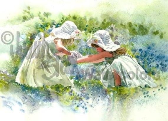 "Girl Friends, Sisters Dance & Play in Texas Bluebonnet Flowers Children Watercolor Painting Print, Wall Art, Home Decor, ""Bluebonnet Belles"""