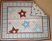 Baby blue and brown stars Baby Quilt-ready to ship