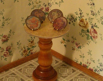 """dollhouse scale """"collectable plates"""" set of four elemental dragon plates with stands"""