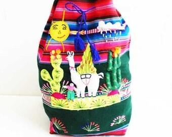 Vintage Deadstock Woven Huipil Backpack