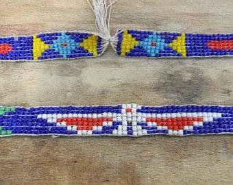 Antique Native American Thunderbird 1940s Beaded Loom Necklace