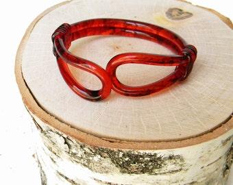 Vintage Lucite Bracelet Amber Red Tortoise Cuff Bracelet