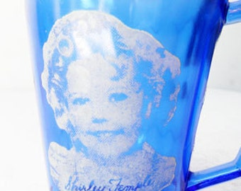 Shirley Temple Cobalt Blue Depression Glass Cup
