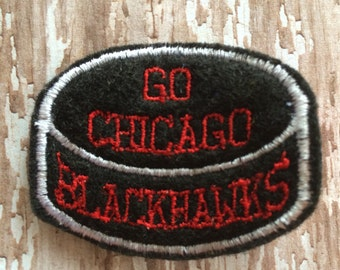 GO BLACKHAWKS Chicago Blackhawks Hockey Puck Black and Red Felt Hair Clip Clippie Babies Toddlers Girls