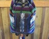 Vintage Guatemala Woven Backpack - Ethnic Woven Backpack Daypack