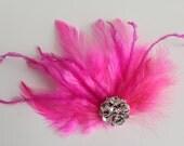 Wedding Bridal Fuchsia Hot Pink Feather Rhinestone Jewel Head Piece Hair Clip Fascinator