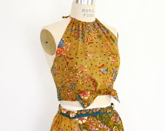 Batik Hippie Dress Indonesia Boho Halter Top Wrap Skirt Beach exotic cropped shirt midriff two piece outfit midi maxi 70s 80s sundress