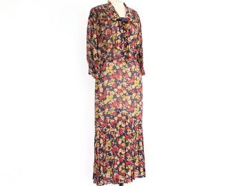 1930s Dress, Sheer Floral Print Ascot Tie Smocked Pleated navy blue, raspberry red, taupe, citrus yellow rayon office midi length day dress
