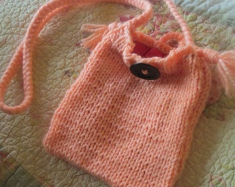 Handmade knitted shoulder purse great for all essentials
