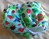 SassyCloth one size pocket diaper with woodland gnomes PUL print. Made to order.