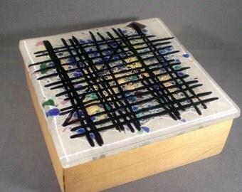 Vintage Mid Century Hand Made Art Glass Tile Wood Box Desk Accessory Modern Home Decor