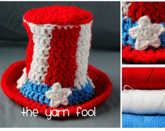 Newborn and Infant Size Crochet Uncle Sam Hat - Red, White, and Blue