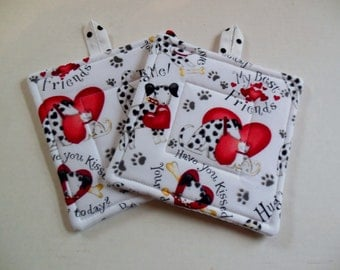 Potholders, Set of Two Quilted Potholders, Puppy Love Pr Of Potholders