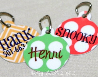 Pet Tag - Round Tag - Dog Tag - Cat Tag - ID Tag - Personalized - Choose Your Design
