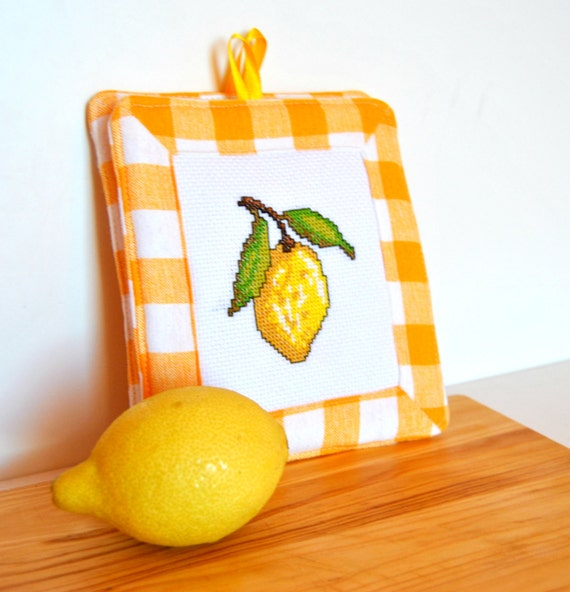 Presine da cucina presine ricamate con limoni presine giallo - Presine da cucina ...