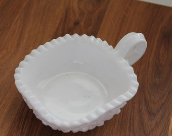 Milk Glass Bowl with Handle--Vintage Milk Glass--White Glass